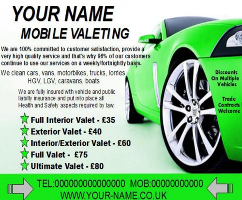 Product picture mobile valeting flyers,leaflet,business cards Templates