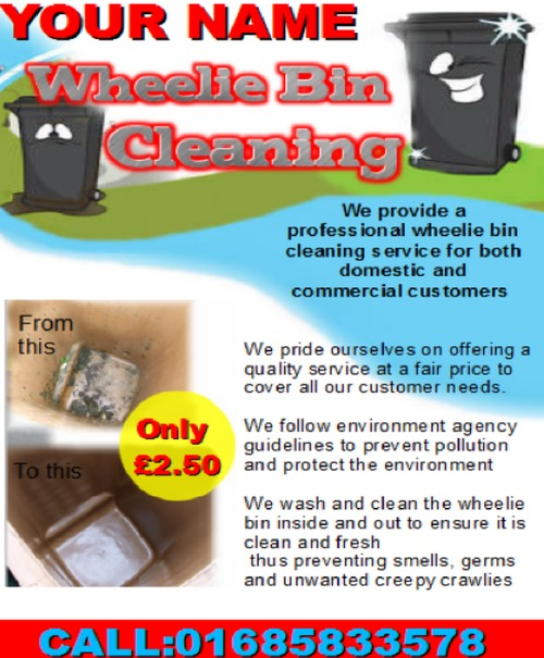 Product picture wheelie bin cleaning Business Templates
