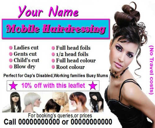 Product picture mobile hairdressing Business Templates forms