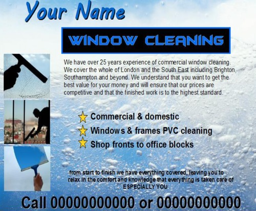Product picture window cleaning Business Templates